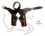 Патронташ с кобурами на два револьвера, коричневый.